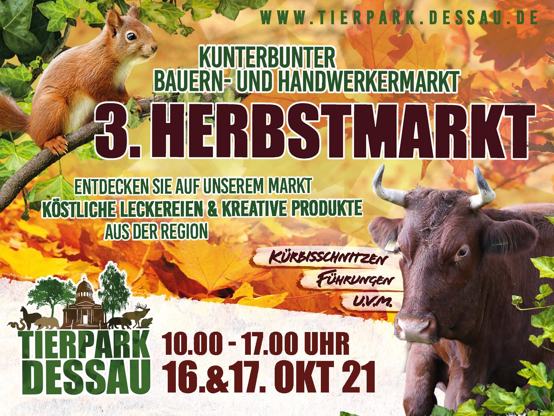 Plakat zum Herbstmarkt im Tierpark Dessau