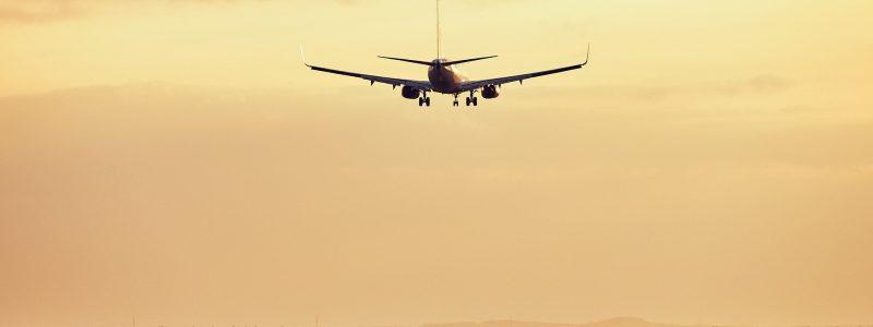 Flugzeig in der Luft am Abend