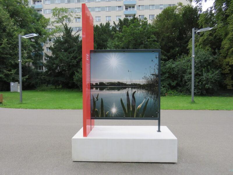 Eine Bildbank der Freiraumgalerie im Stadtpark